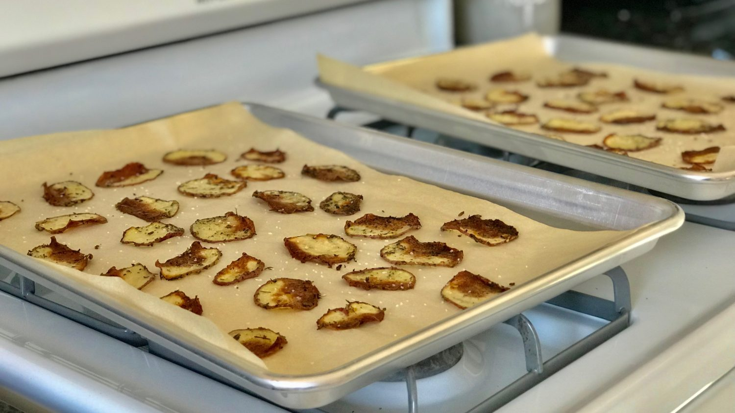 Baked potato chips right out of the oven