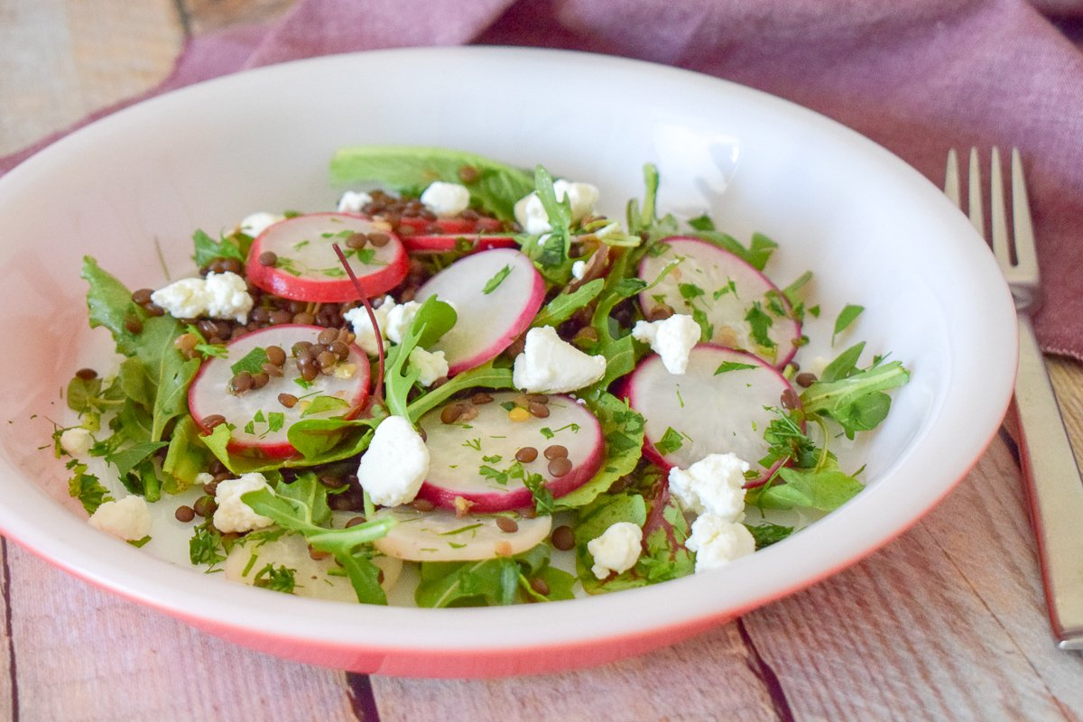 Lentil Salad with radishes on a plate