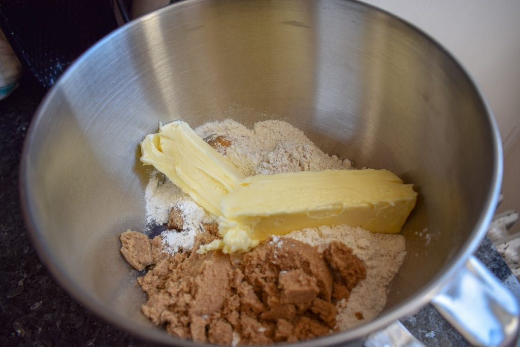 Dry ingredients and butter in a stand mixer bowl