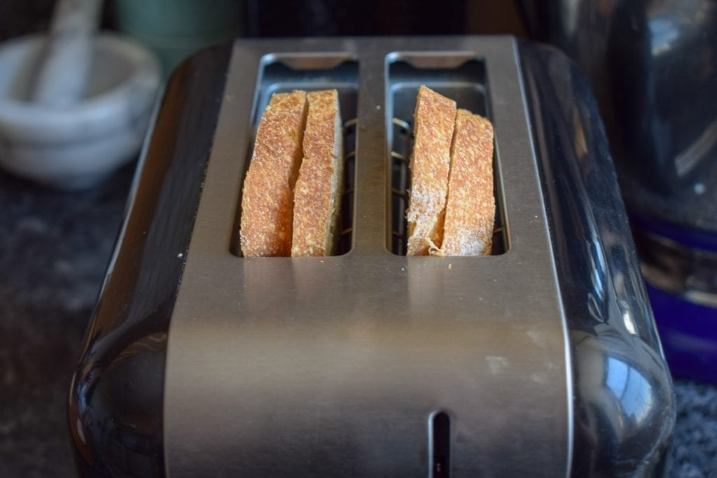 bread slices in a toaster
