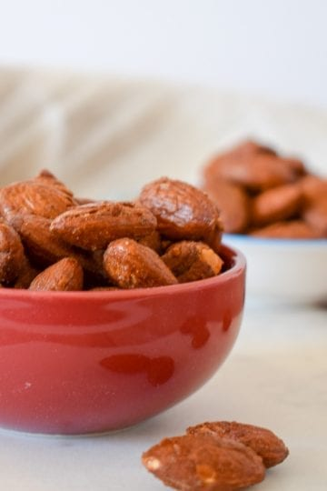 Two small bowls of almonds