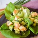 Closeup of shrimp and lettuce wrap
