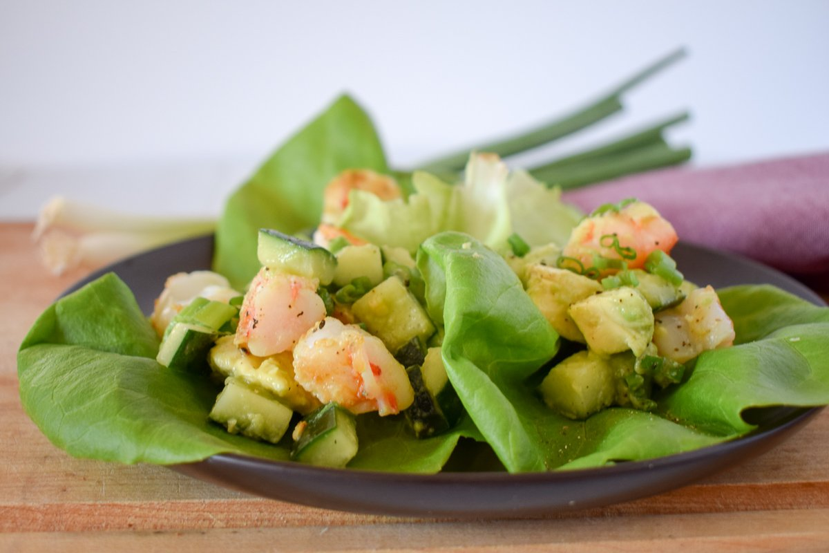 The shrimp lettuce wraps on a plate