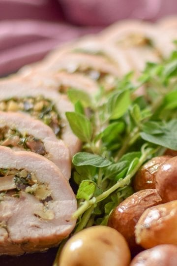 Turkey roulade on plate